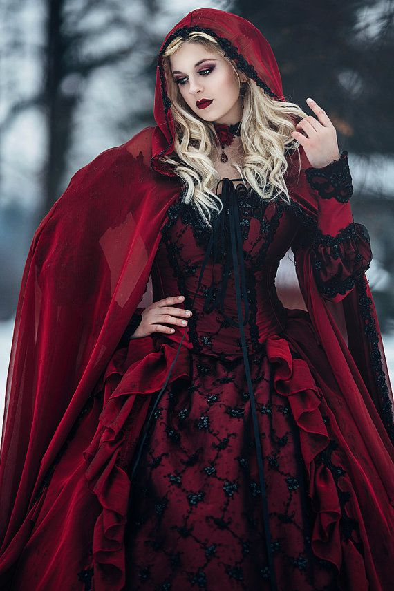 Black And Red Gothic Wedding Dress