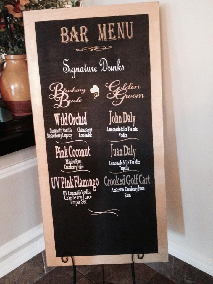 Wedding bar menu ideas for Unique chalkboard ideas