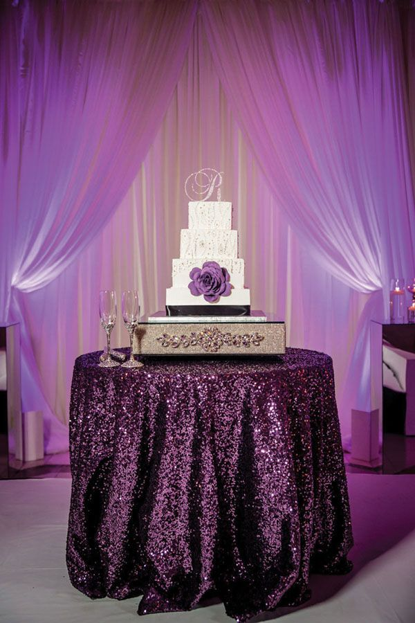Eggplant And Silver Wedding Decorations