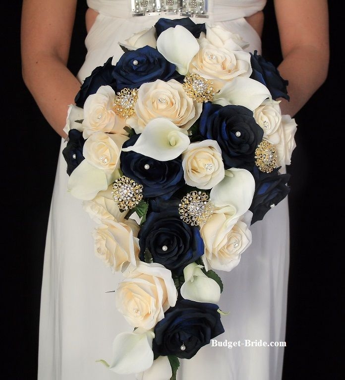 Navy And Gold Wedding Flowers