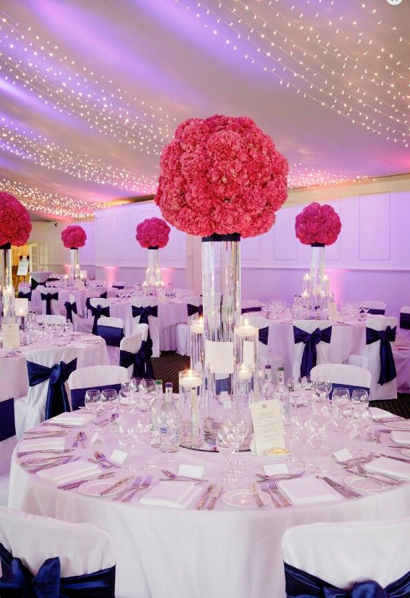 Navy And Coral Wedding Centerpieces