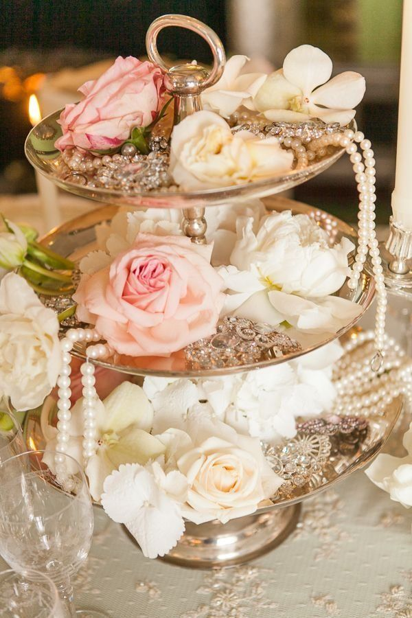 Wedding centerpieces shabby chic for Decoration fiancaille