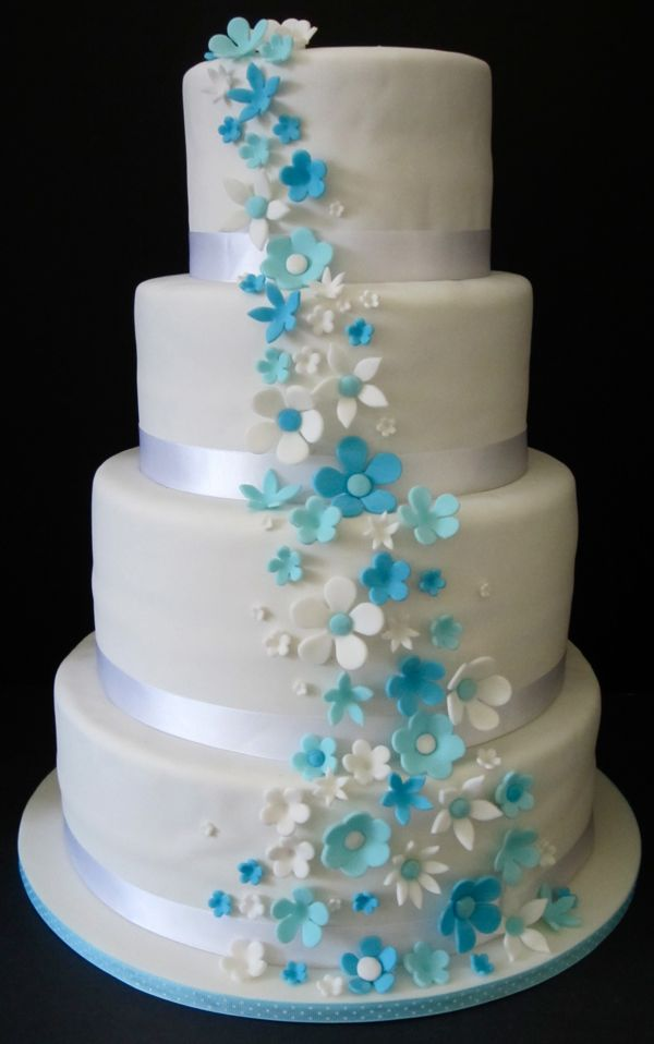 light blue wedding cakes blue flowers for wedding 16856