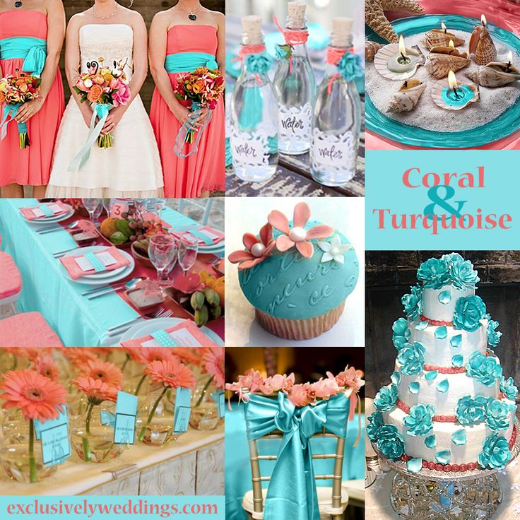Coral and blue wedding decorations junglespirit Images