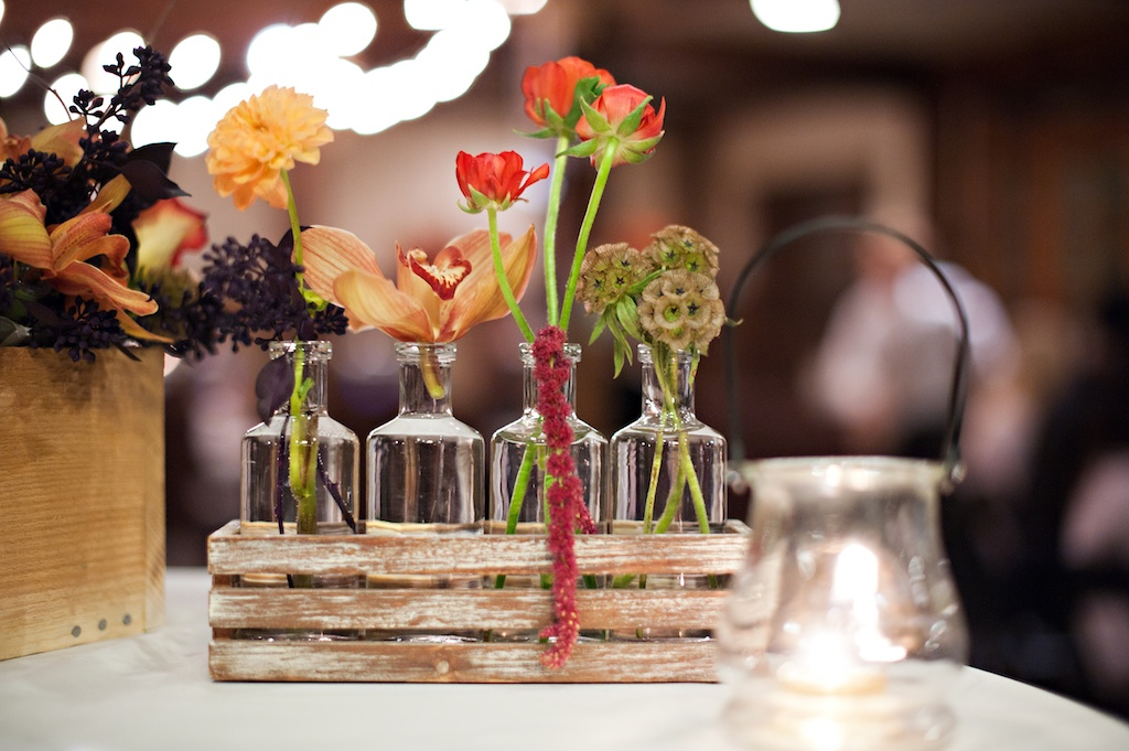 Wooden crate wedding centerpieces