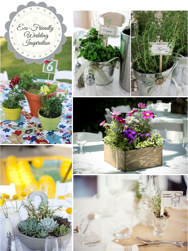 Flower pot wedding centerpieces