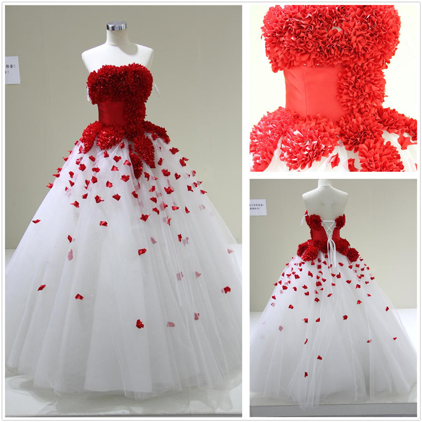 Wedding Gowns With Red: White Wedding Dress With Red