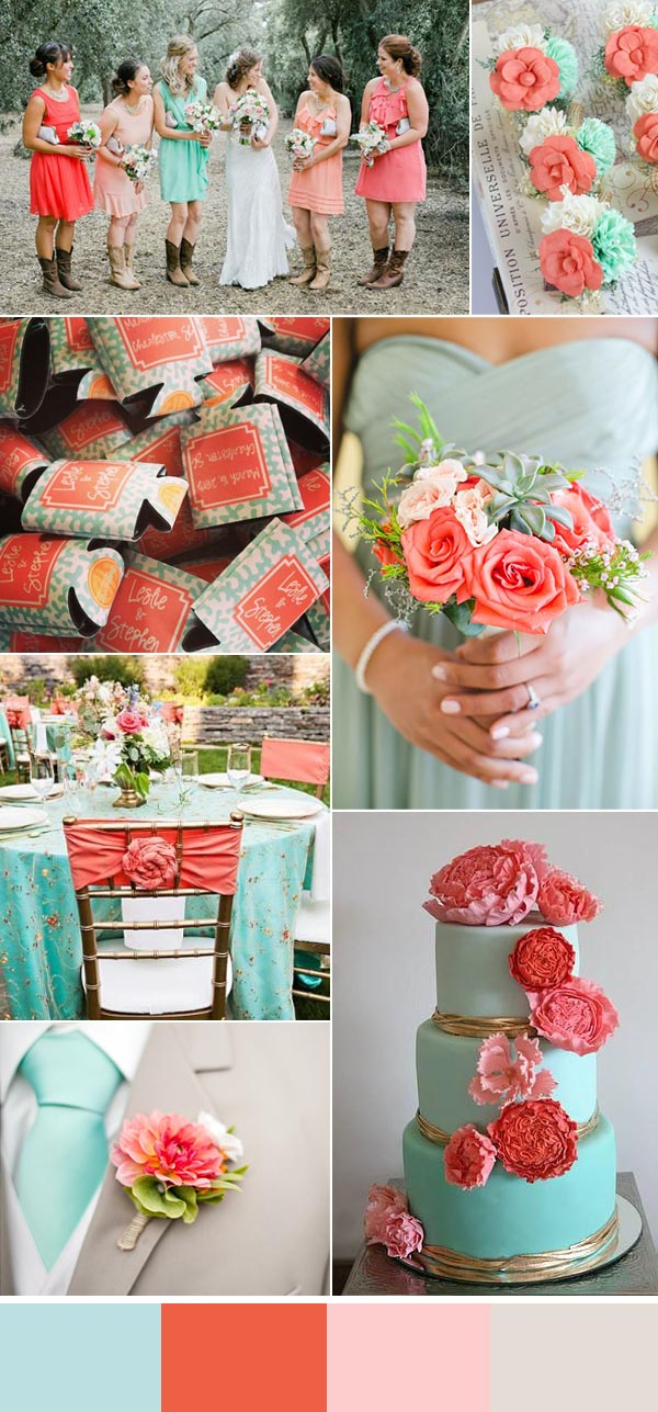 Coral And Aqua Wedding Decorations Choice Image - Wedding Decoration ...
