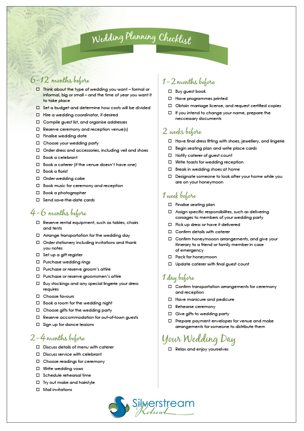 Backyard Wedding Reception Timeline Planning Checklist Printable