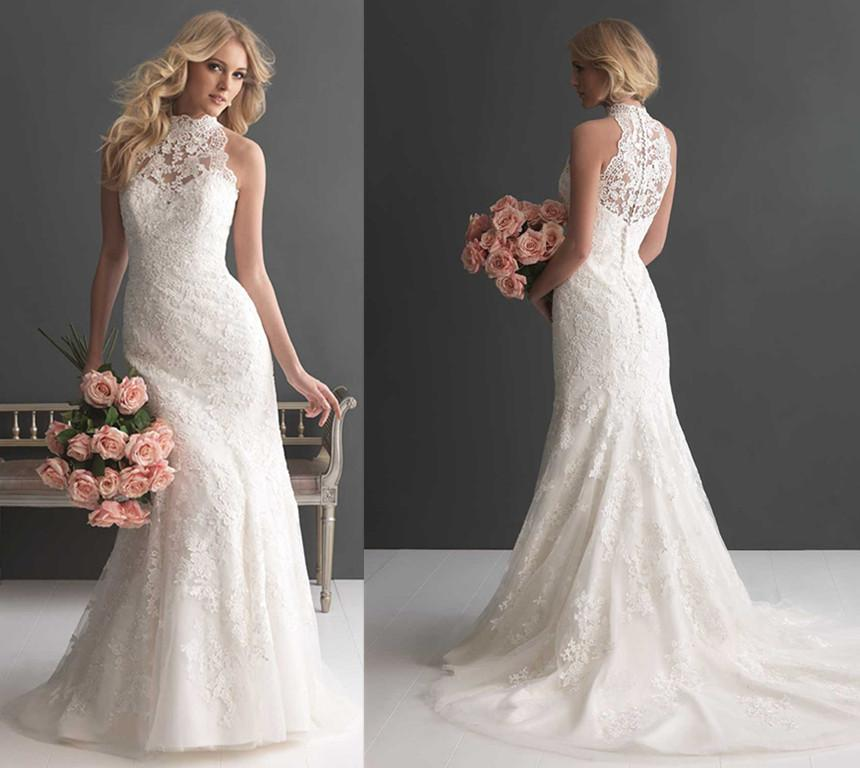 High neck lace wedding dress 2016 new arrival high neck wedding dress sleeveless floral lace junglespirit Images