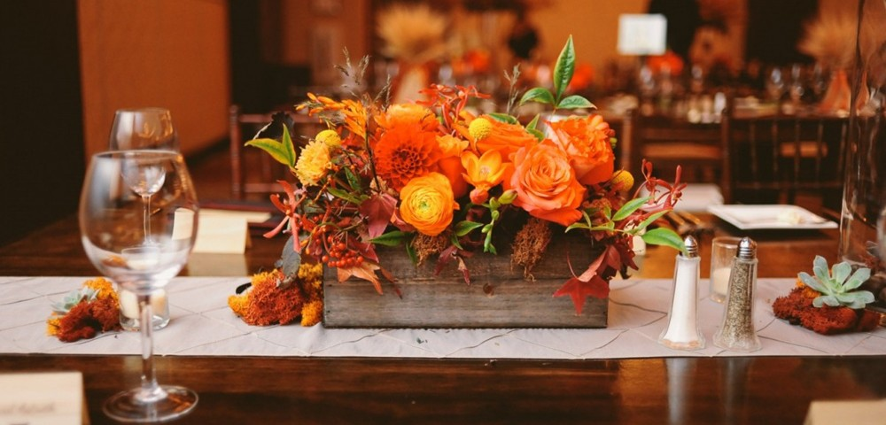 Simple fall wedding centerpieces