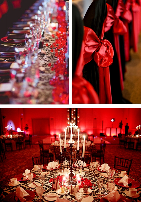 Red Black Silver Table Setting WEdDinG STUff
