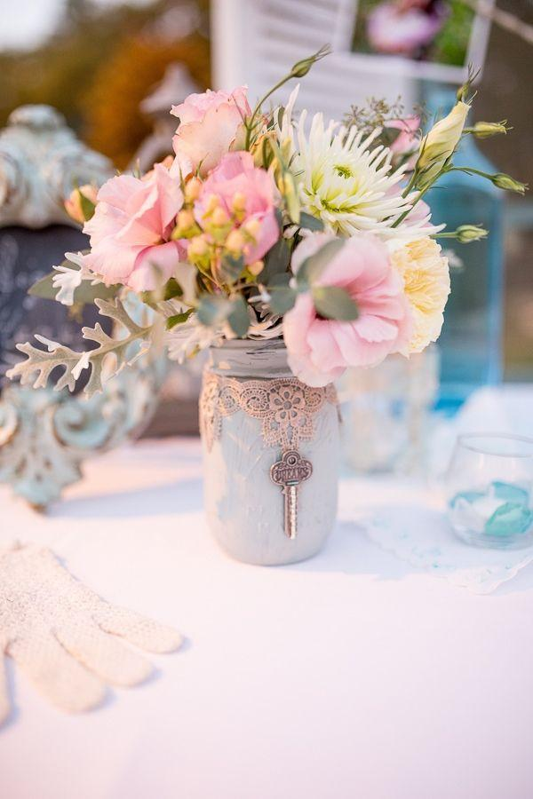 Glass jars wedding centerpieces