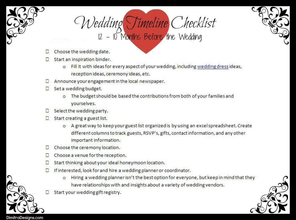 Magic image with regard to printable wedding checklist timeline