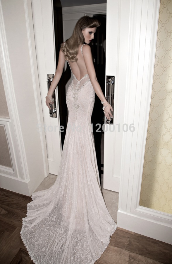 Spaghetti Strap Backless Wedding Dresses