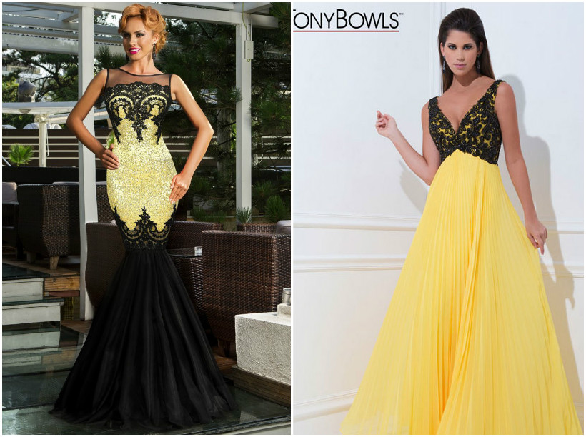 Black Yellow Bridesmaid Dresses