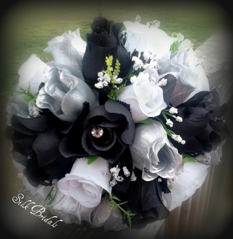 Black Wedding Flowers: Black White And Silver Wedding Bouquets