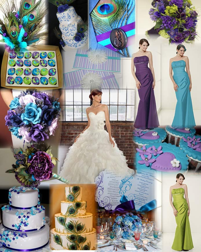 Blue Green Purple Wedding Dress