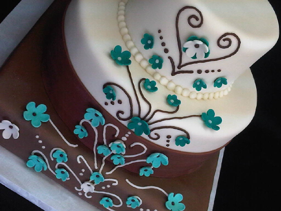 Brown And Turquoise Western Wedding Cakes