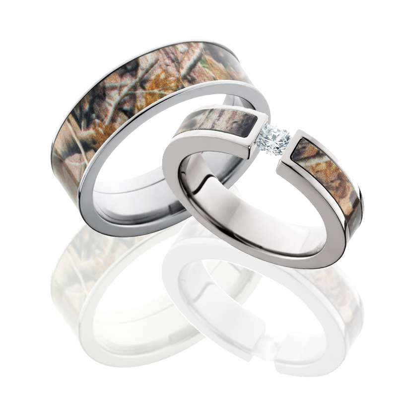 Camo Wedding Ring Sets For Him And Her