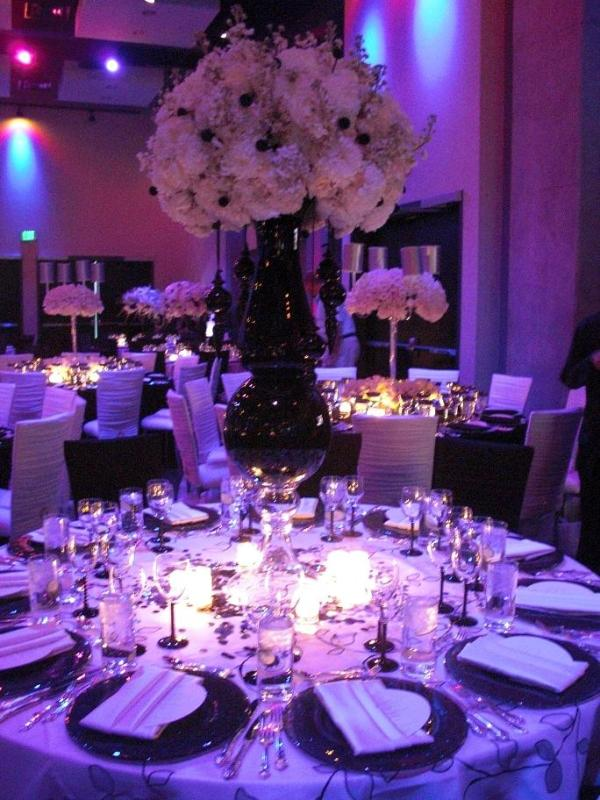 Purple centerpieces for wedding