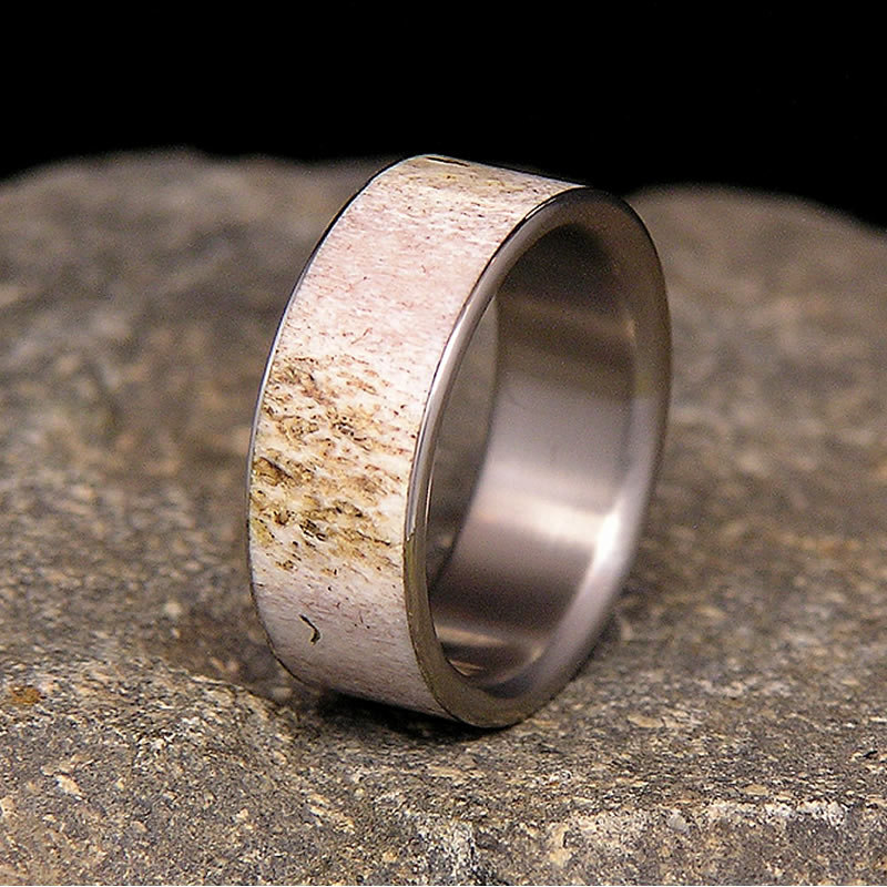 wedding with and titaniu band turquoise antler mens rings ring wood deer