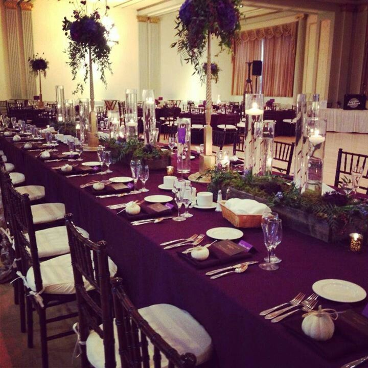 Silver Wedding Decorations: Eggplant And Silver Wedding Decorations