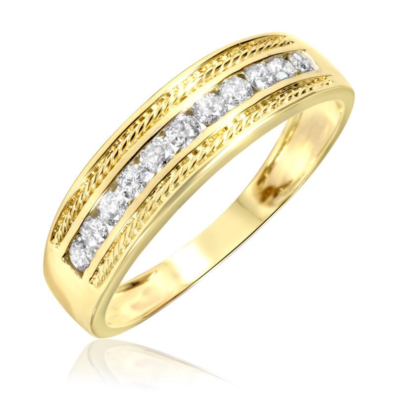 Yellow Gold Wedding Band White Gold Engagement Ring
