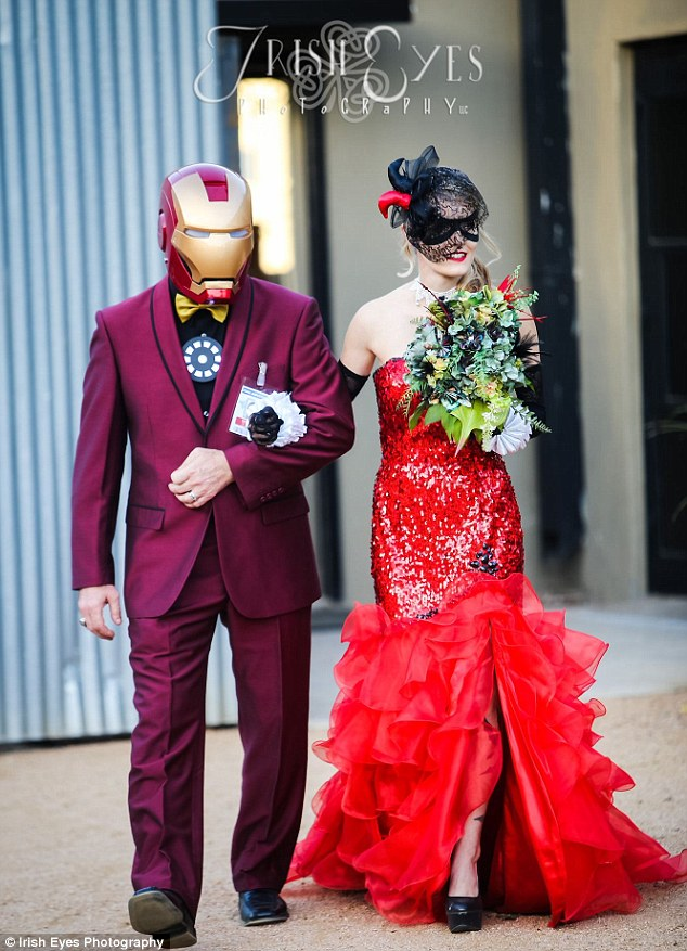 Forth Worth Texas Couple Obsessed With Batman Have Comic Book Items Similar To One Of A Kind Harley Quinn Wedding Dress Cosplay