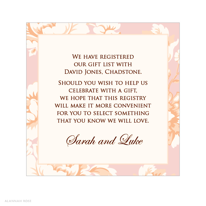 Wedding Gift List Wording For Invitations : Gift Registry Wording For Wedding Invitations
