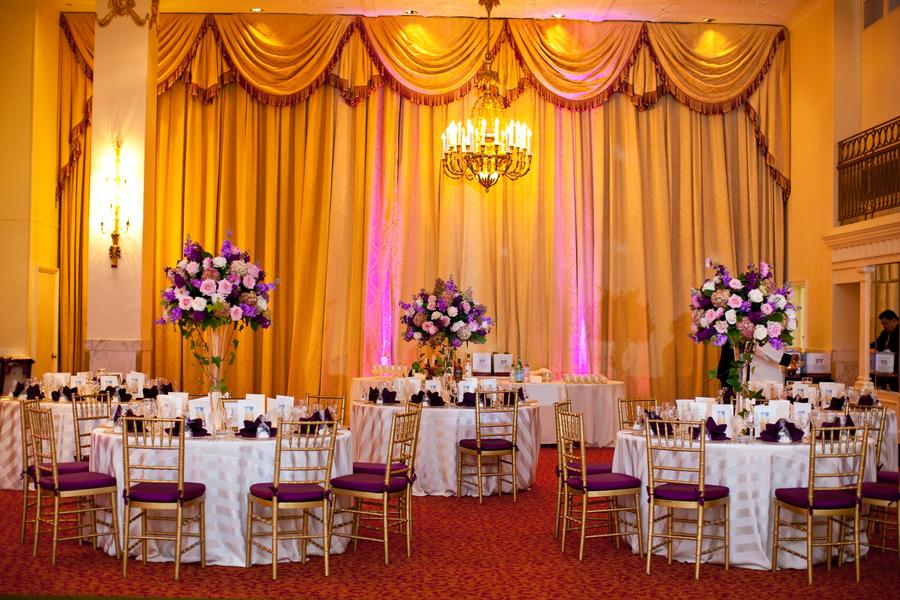 Gorgeous Purple And Gold Wedding Centerpieceswedwebtalks