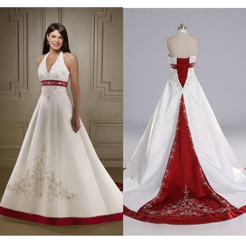 Halter Wedding Dress With Red Sash – Emasscraft.org