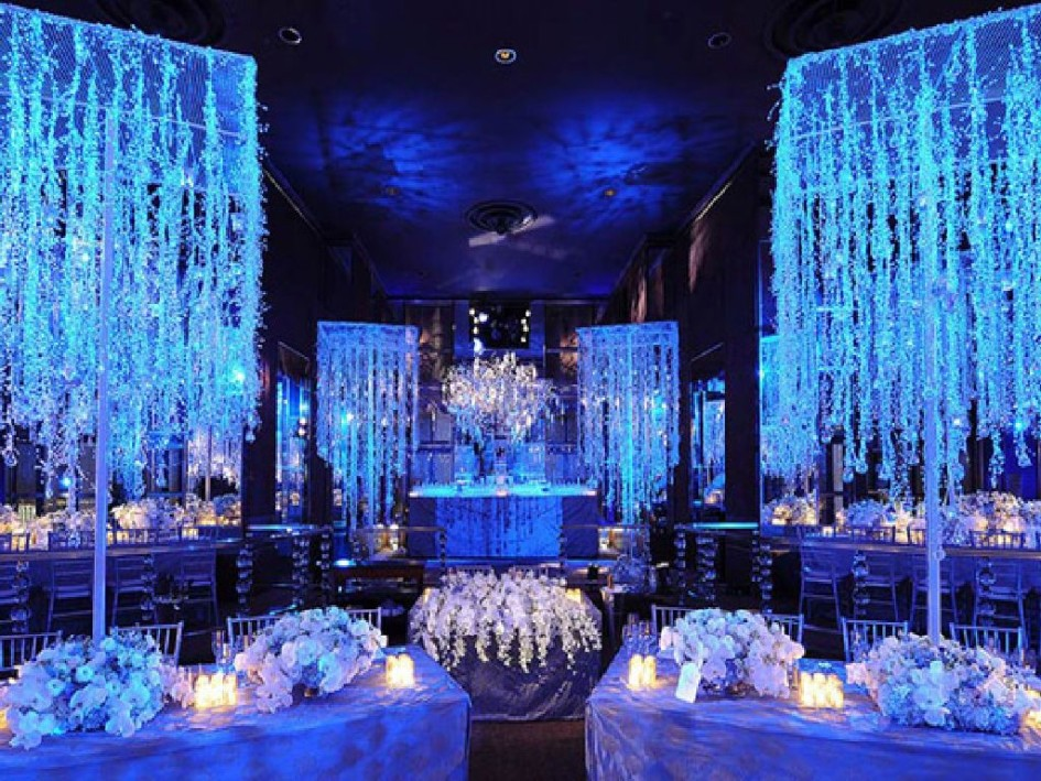 winter wedding decoration silver and blue wedding theme 1439