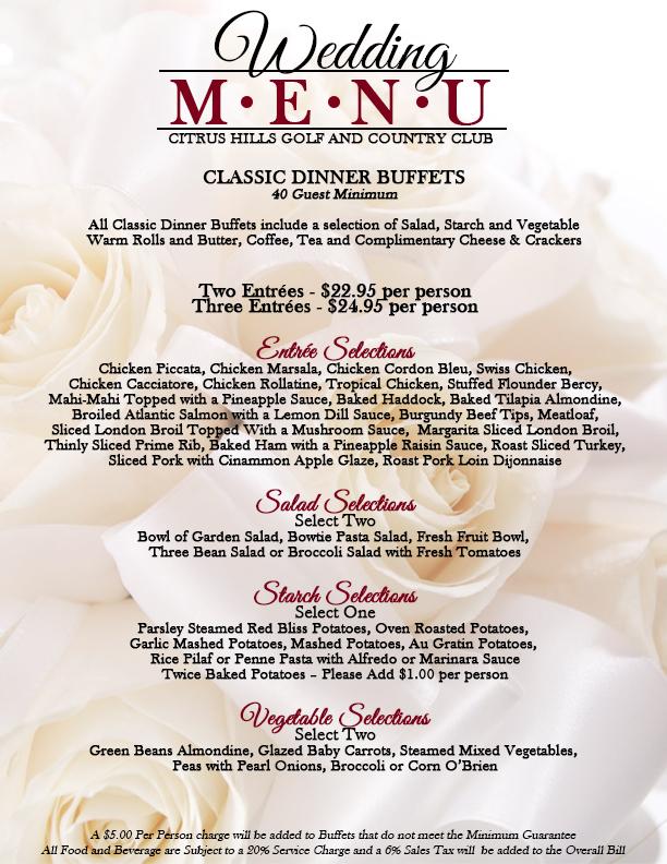 Wedding Reception Buffet Menu
