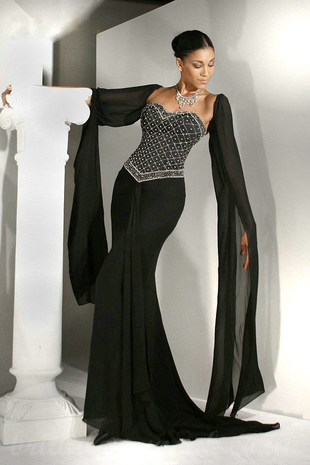 Long sleeve black wedding dress for Black and white wedding dresses with sleeves