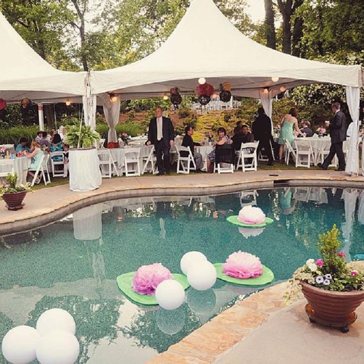 swimming pool wedding decoration ideas. Black Bedroom Furniture Sets. Home Design Ideas