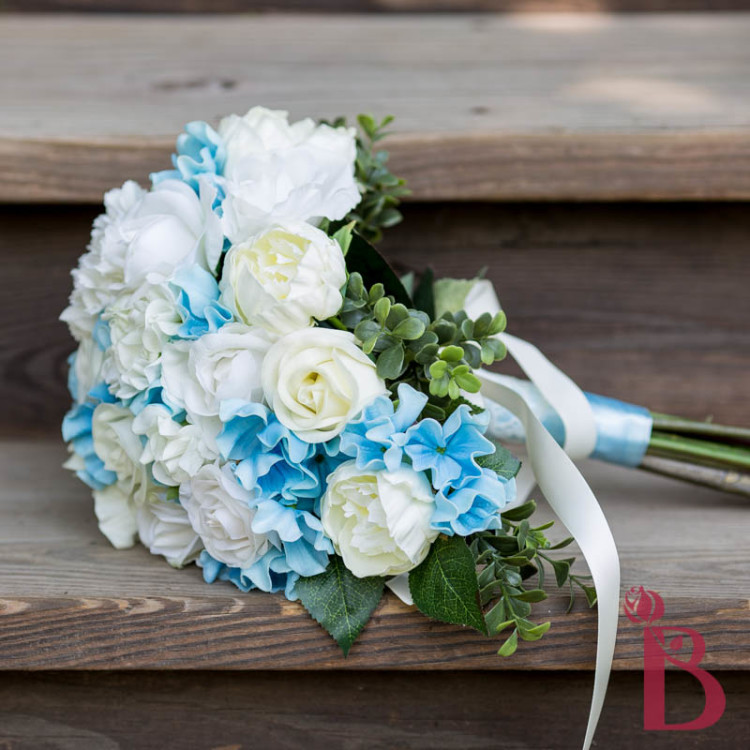 Cream And Blue Wedding Bouquets