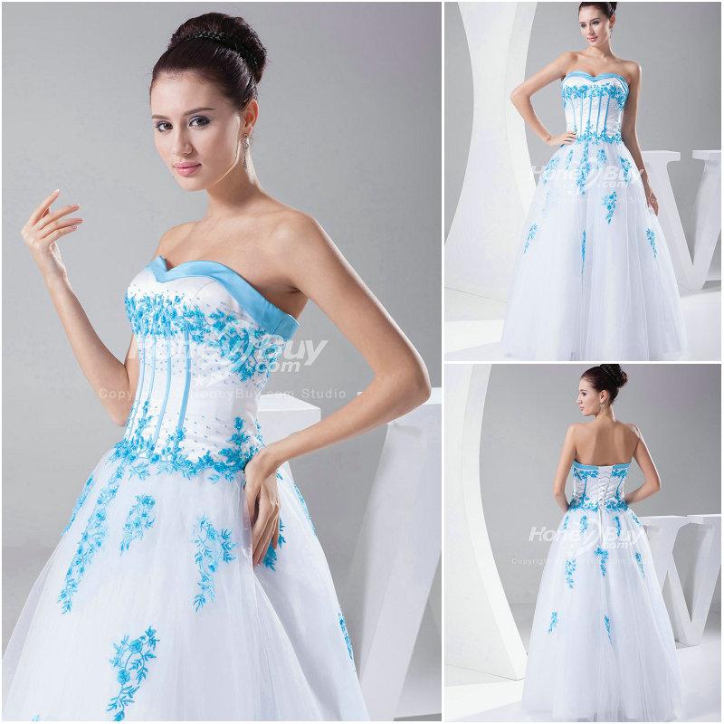 White And Blue Wedding Dress