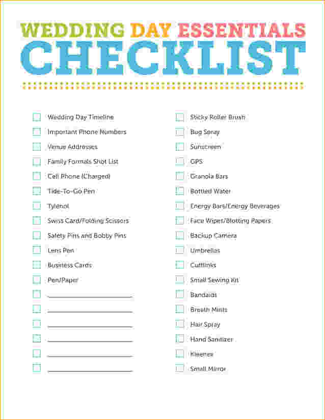 Outdoor Wedding Checklist