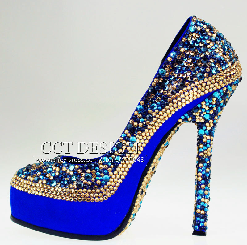 Gentil Popular Blue High Heels Wedding Shoes