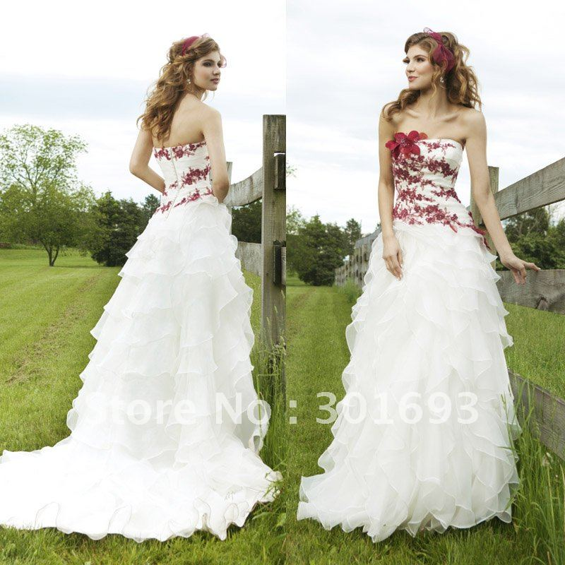 Red And White Wedding Dresses: White Wedding Dress With Red