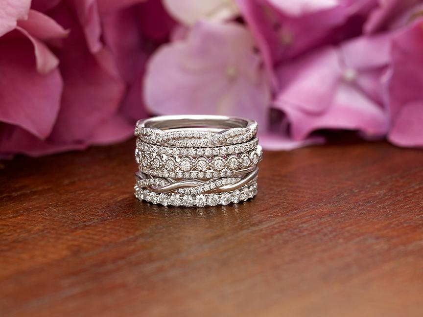 stacked wedding rings set. Black Bedroom Furniture Sets. Home Design Ideas
