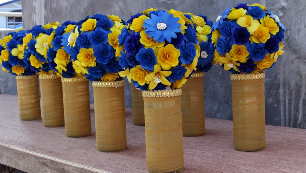 Royal Blue And Yellow Wedding Bouquets Pomanders Corsages