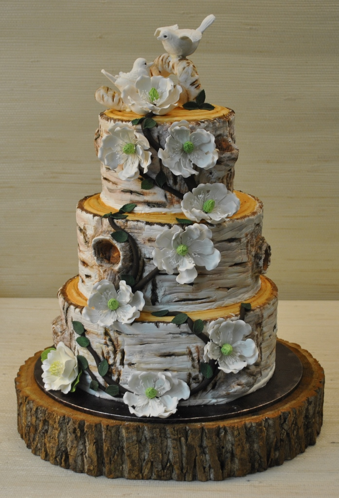 Birthday Cake With Woodland Leaves