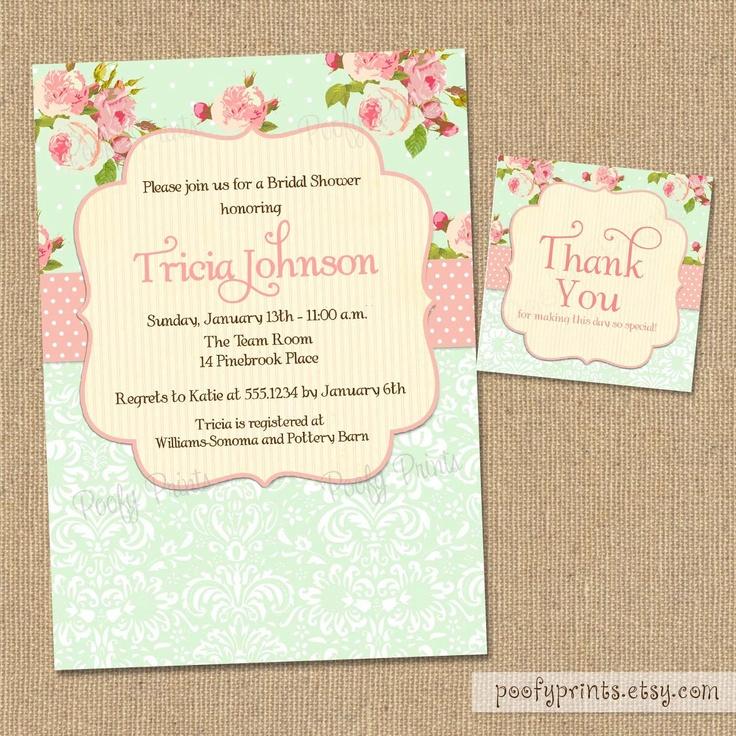 Shabby chic wedding shower invitations filmwisefo Choice Image