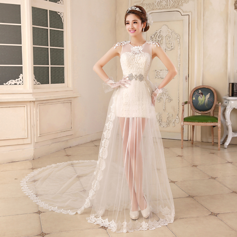 Short Wedding Dresses With Detachable Trains