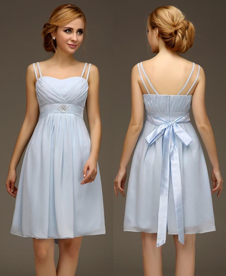 Light Blue Bridesmaid Wedding Dress