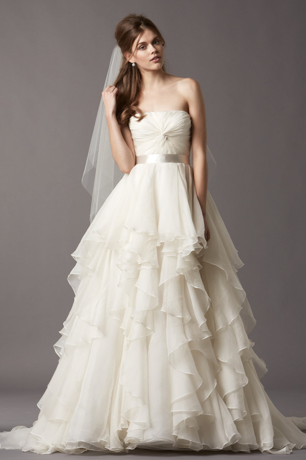 wedding dresses asymmetrical tiered organza