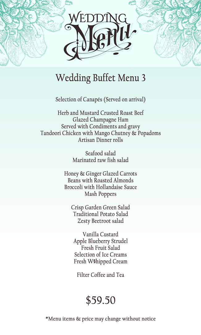 Wedding Buffet Menu Reception Catering Oak Tree Restaurant