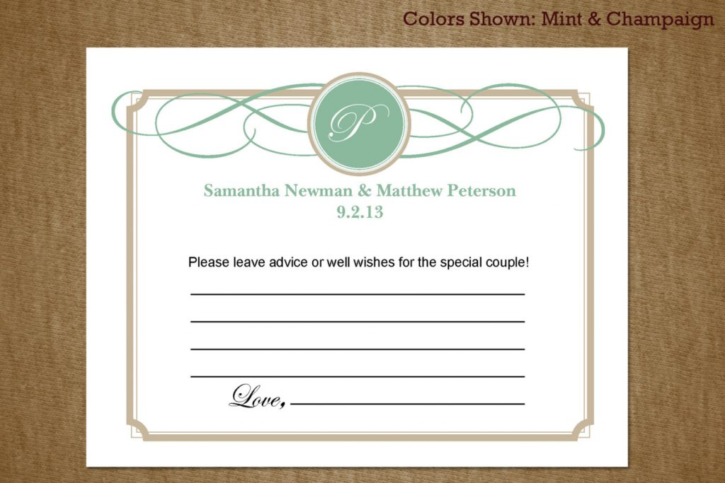 wedding advice cards ideas